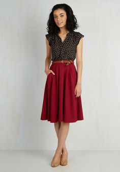 Breathtaking Tiger Lilies Skirt in Merlot. This morning, a bundle of bright flowers was waiting at your door. #red #modcloth #skirtoutfits
