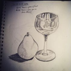 Day 24 & 25 draw a piece of fruit draw a glass you drink from.  #everydaydrawingchallenge #eddc #sketchbooking #drawing #sketching #sketchaday #artshare #arteveryday #artistsoninstagram #artoftheday #dailysketch #blackwoodcottageart #wine #wineglass #stilllife #pear #fruit #glass