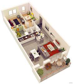 25 More 2 Bedroom 3D Floor Plans | Amazing Architecture Online