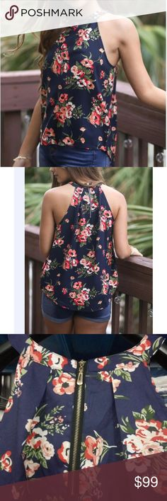 floral tank top floral tank top made with chiffon. This tank top is lightweight and perfect for summer. Zippered back. New in original packaging. boutique Tops Tank Tops