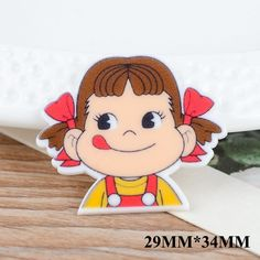 50pcs 29*34MM Cartoon Girl Flatback Resin Planar Kawaii Cartoon Character DIY Resin Crafts For Home Decoration Accessories FR044