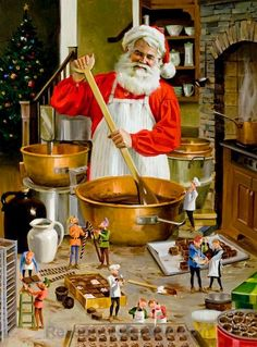 Chocolatiers by Tom Browning depicts Santa preparing batches of chocolate and fudge while ten busy elves assist with the details. This scene is printed on high quality hand made paper and measures 14 Christmas Scenes, Father Christmas, Vintage Christmas Cards, Santa Christmas, Christmas Pictures, Xmas, Illustration Noel, Christmas Illustration, Santa Pictures