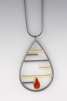 NECKLACE - OXIDIZED STERLING #SILVER, STERLING SILVER, 18 KT YELLOW #GOLD, #CORAL