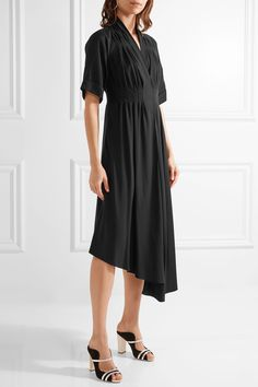 ADAM LIPPES Asymmetric wrap-effect crepe midi dress  $1,150.00 https://www.net-a-porter.com/product/801575