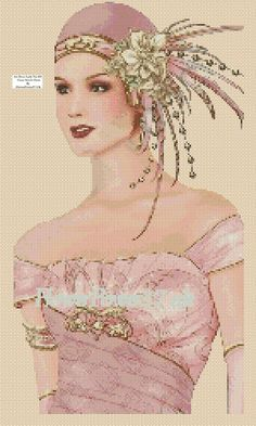 Cross stitch chart Art Deco Lady - No 102 flowerpower37-uk | eBay
