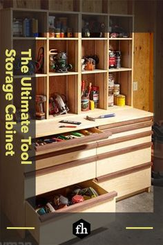 The Ultimate Tool Storage Cabinet Woodworking Organization, Shop Organization, Woodworking Projects, Woodworking Essentials, Router Woodworking, Popular Woodworking, Wood Projects, Tool Storage Cabinets, Garage Storage