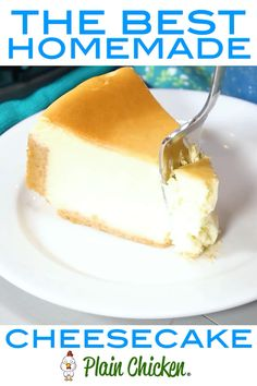 The Best Homemade Cheesecake - get the secret for the lightest and fluffiest cheesecake ever! Graham cracker crumbs butter sugar Cream cheese eggs sugar lemon juice and vanilla. SO simple yet SO delicious. Everyone RAVES about this amazing dessert! Graham Crackers, Graham Cracker Crumbs, Best Cheesecake, Easy Cheesecake Recipes, Classic Cheesecake, Plain Cheesecake, Simple Cheesecake Recipe Without Sour Cream, Recipe For Homemade Cheesecake, Best Fluffy Cheesecake Recipe
