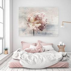 "#Shabby Chic Floral, Shabby Floral. Pink Blue Gray Rustic Peony, Shabby Chic Canvas Art Print up to 72"" by Irena Orlov Shabby Chic Floral, Shabby Floral. Pink Blue Gray Rustic Peony, Shabby Chic Canvas Art Print up to 72"" by Irena Orlov Pink Flower Canvas Art -- Large Wall Art for Shabby C..."