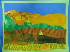 Grant Wood inspired collage landscapes