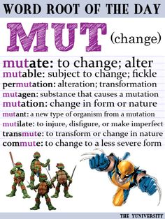 "Help: Word Root ""MUT"" (Change) Root Word of the Day ~ Scroll through to find posters for the root words you need.Root Word of the Day ~ Scroll through to find posters for the root words you need. Vocabulary Instruction, Teaching Vocabulary, Grammar And Vocabulary, Grammar Lessons, English Vocabulary, Vocabulary Strategies, Vocabulary Games, Academic Vocabulary, Teaching Science"