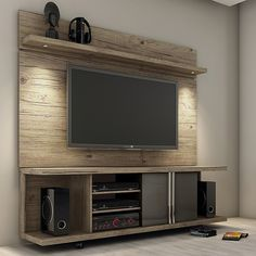 Amazing Modern TV Wall Decor Idea for Living Room Design Look Luxury - Istri Sholehah Tv Wall Shelves, Wall Tv, Open Shelves, Tv Wall Panel, Tv Wall Cabinets, Floating Shelves, Tv Stand And Panel, Modern Entertainment Center, Entertainment Weekly