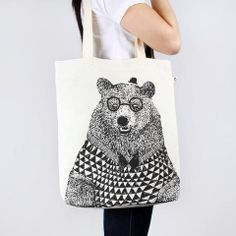 Tote Bag Large Natural - Bear $39 @ tuskhomewares.com.au
