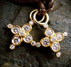 Erica Courtney 18K Yellow Gold and Diamond Cross Charm Pendants for Earrings