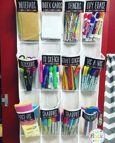 Back to School DIY Ideas - Genius Crafts for Better Organization - Amazing Projects on Home DIY - Organizing Ideas - Organize all supplies mess with repurposed shoe organizer. Back to School DIY Ideas – Genius Craf - Back To School Organization, Teacher Organization, Teacher Hacks, Organization Hacks, Organizing Ideas, Organizing School Supplies, Organize Art Supplies, School Supply Storage, Craft Supplies