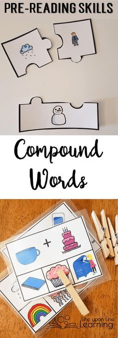 Building compound words and recognizing the parts of compound words is an essential pre-reading skill to develop. One can't easily put words together without first hearing the parts of words!