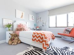 """Nursery No More! An 8-Year-Old's Bedroom Upgrade - """"We kept the bed and the dresser and changed everything else from the window treatments to the carpet. The room was originally designed when Alexa was born with pink walls, a built-in bookcase with a bench and more playful furniture. Now that Alexa is older, she and her parents wanted to get rid of the nursery-feel in the space."""" - @Homepolish New York City"""