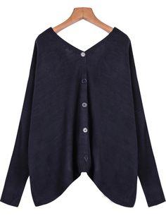Blue V Neck Long Sleeve Pockets Knit Sweater - Sheinside.com Mobile Site