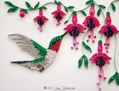 Quilled Hummingbird and Fuchsia