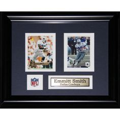 Boast about your inner fan to all your guests when you hang this double card set featuring Emmitt Smith on the Dallas Cowboys on your walls. Framed in a sturdy wood frame for last protection, this col