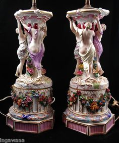 Meissen 19th Century Hand Painted Porcelain Porcelain Lamps Pair | eBay