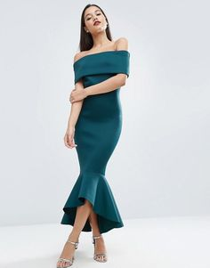 ASOS | ASOS PREMIUM Deep Fold Peplum Midi Dress Scuba-style fabric Off shoulder neckline Dipped peplum hem Zip back closure Close-cut body-conscious fit Machine wash 89% Polyester, 11% Elastane