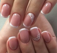 Gently And Elegantly - Newest Ideas of French Manicure! - - Gently And Elegantly - Newest Ideas of French Manicure! Nail Manicure, Toe Nails, Nail Polish, Manicure Ideas, Nail Tips, Bridal Nail Art, Bridal Nail Design, Wedding Manicure, French Tip Nails