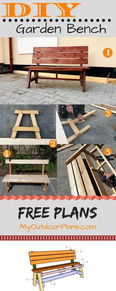 This is a step by step tutorial on how to build a simple garden bench with backr. This is a step by step tutorial on how to build a simple garden bench with backrest. You can build Pallet Furniture Plans Step By Step, Outdoor Furniture Plans, Diy Pallet Furniture, Diy Pallet Projects, Wood Projects, Wooden Furniture, Pallet Bench Diy, Yard Furniture, Garden Projects
