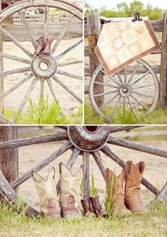 Wagon wheel and family boots
