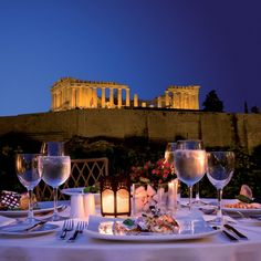 dinner with a view of the Acropolis at the 5 star luxury Hotel Grande Bretagne in Athens, Greece. Greek Islands Vacation, Greece Vacation, Romantic Dinners, Athens Greece, Acropolis Greece, Beautiful Places To Visit, Amazing Places, Greece Travel, Most Romantic
