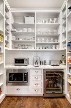 Pantry Inspiration. Above counter big open shelving. Pantry shelving on both sides, hooks for aprons