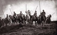 First World War: French lancers preparing to chase German retreat. Their cavalry lance is the same as that used in the 18th and 19th centuries. WW1 marked the end of cavalry combat roles.