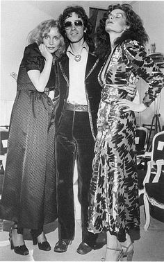 1970's Celia Birtwell Ossie Clark and Gala Mitchell wearing an Ossie creation