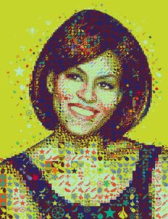 A colorful Michelle Obama for Hemispheres magazine    A colorful portrait of Michelle Obama made out of vegetables, fruits, bees and stars.   Made for the First Lady's Q in Hemispheres magazine published by United Airlines.
