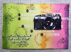 Live Life And Capture Every Moment! art journal page by Corrie Herriman - camera stamp