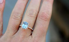 Emerald cut engagement ring. Aqua blue sapphire engagement ring. 2.6ct emerald cut blue sapphire ring diamond ring 14k Rose gold ring