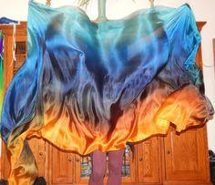 Sahariah's Silk Belly Dance Rectangle Veils Duet Veils Two 3 Yard Rectangle Killer Silk Original Veils Silks by Sahariah by SilksbySahariah on Etsy