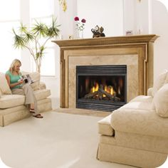 BCDV42 Direct Vent Gas Fireplace:  The Porcelain Reflective Radiant Panels, included with the unit, create four spectacular fires in one and fill the large firebox with an echo of beautiful YELLOW DANCING FLAME® patterns. The impressive view, along with exceptional decorative options, furnishes your room with a fireplace admired by all. An excellent choice for comfort and style.    #AireOne #HVAC #Ontario  Call 310-HEAT(4328)