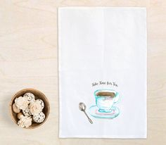Kitchen towels Time for Tea flour sack towel by HandandHartDesigns