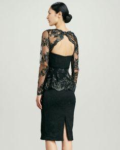 Badgley Mischka Collection Lace Peplum Brocade Cocktail Dress in Black (BLACK/GOLD) - Lyst