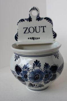 Vintage Zout SALT BOX Delft Blauw Blue Holland