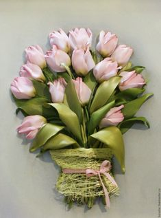 Buy The picture is embroidered with ribbons of Pink tulips 30 x х40 cm