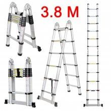 Tele Ladder 190d 12 Finether 3 8m Portable Heavy Duty Multi Purpose Aluminum Folding Telescoping A Frame Ladder With Hinges En131 Certified 330 Lb Capacity With Images A Frame Ladder Telescopic Ladder Aluminium Ladder