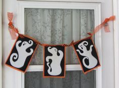 Ghostly Trio Halloween Banner by somethinglisa on Etsy, $20.00