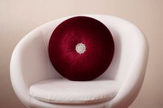 Velvet Round pillow 16 with rhinestone button by fulyad on Etsy