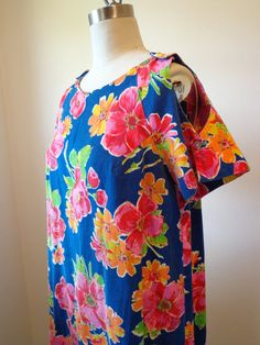 Hawaiian Maxi Dress Dark Blue with Large Floral by EadoVintage, $27.50