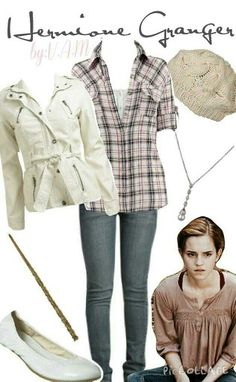 Love the fitted shirts, the flannel is feminine. Harry Potter Style, Harry Potter Outfits, Character Inspired Outfits, Disney Inspired Outfits, Hermione Granger, New Years Eve Outfits, Mein Style, Fandom Fashion, Fandom Outfits