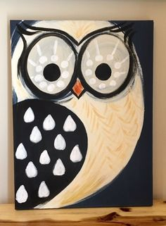 Owl Wood Panel Painting Original Art Blue Owls by ClarabelleArte