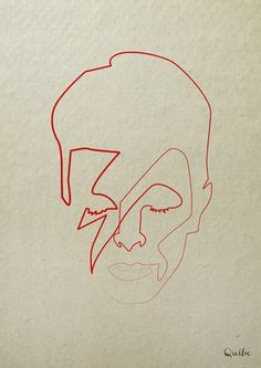 One Line David Bowie Art Print