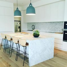Our stunning new kitchen designed by Jo McIntyre of Beautiful Home.  We couldn't be happier with the design, layout and style! #kitchendesign #carramarble #interiordesign #newkitchen #homerenovation #homedecoration