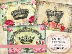 Royal crowns with vintage background 2.5 x 3.5 inch by Karisagraphic